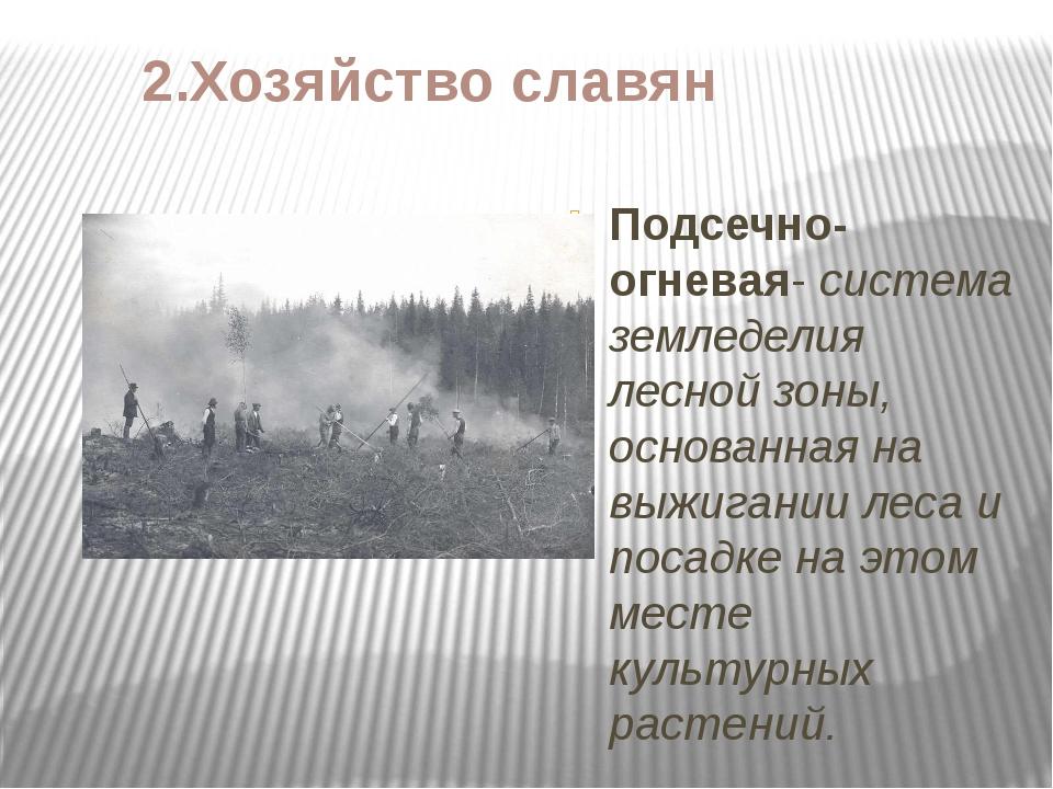 2.Хозяйство славян Подсечно-огневая- система земледелия лесной зоны, основанн...