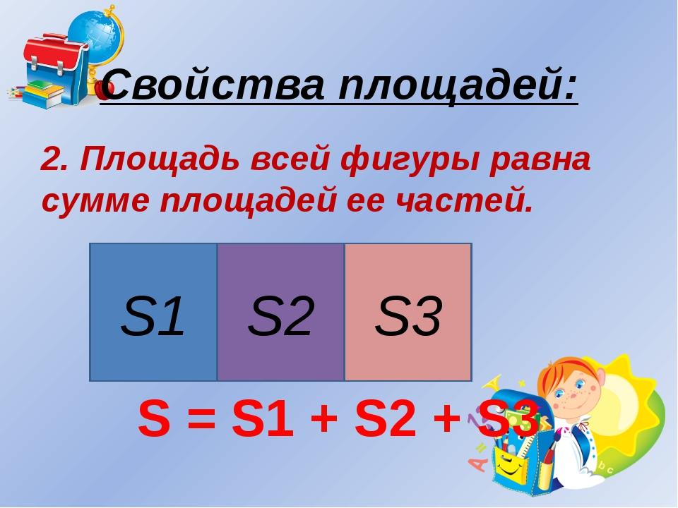 Свойства площадей: 2. Площадь всей фигуры равна сумме площадей ее частей. S =...