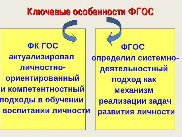 Ключевые особенности ФГОС ФК ГОС актуализировал личностно- ориентированный и...