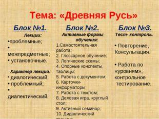 Тема: «Древняя Русь» Блок №1. Лекции: проблемные; межпредметные; установочны