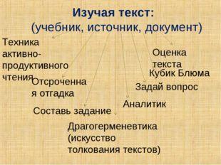 Изучая текст: (учебник, источник, документ) Отсроченная отгадка Оценка текст
