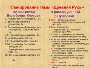 Планирование темы «Древняя Русь» по программе Волобуева- Клокова: 1. Народы
