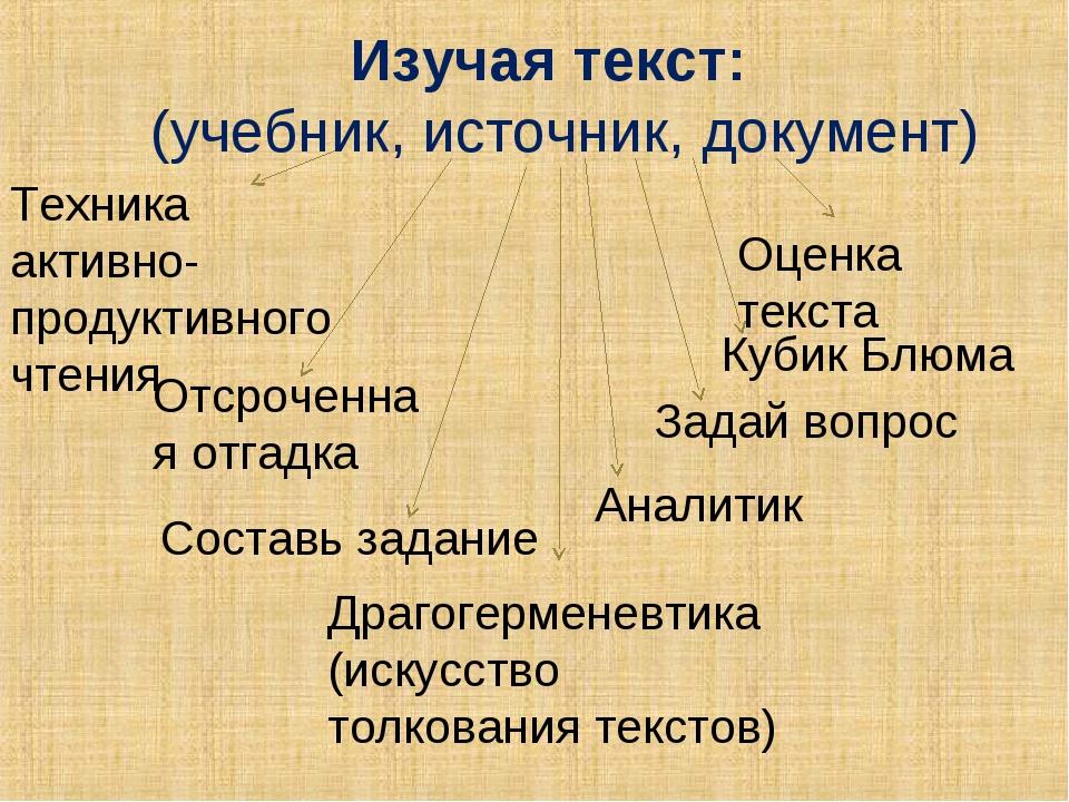 Изучая текст: (учебник, источник, документ) Отсроченная отгадка Оценка текст...