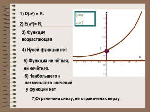 1) D(аx) = R. 2) E(аx)= R+ 4) Нулей функции нет 3) Функция возрастающая 1 5)