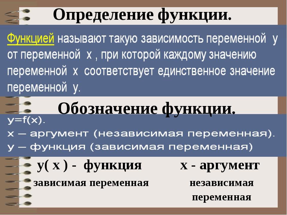Определение функции. Обозначение функции. у( х ) - функция х - аргумент зави...