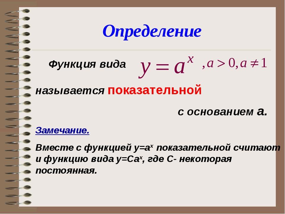 Функция вида называется показательной с основанием а. Замечание. Вместе...