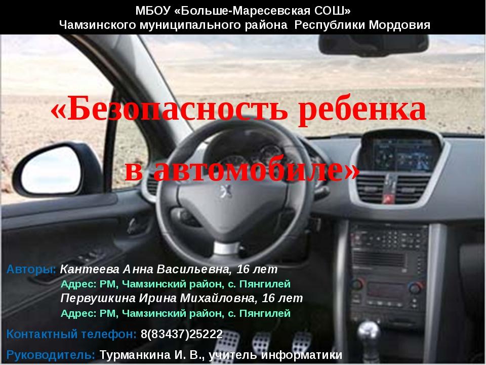 МБОУ «Больше-Маресевская СОШ» Чамзинского муниципального района Республики Мо...