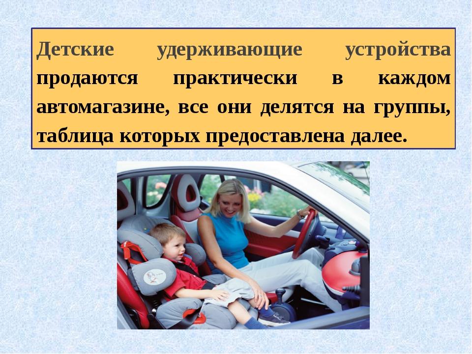 Детские удерживающие устройства продаются практически в каждом автомагазине,...