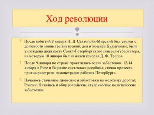 После событий 9 январяП.Д.Святополк-Мирскийбыл уволен с должности министр