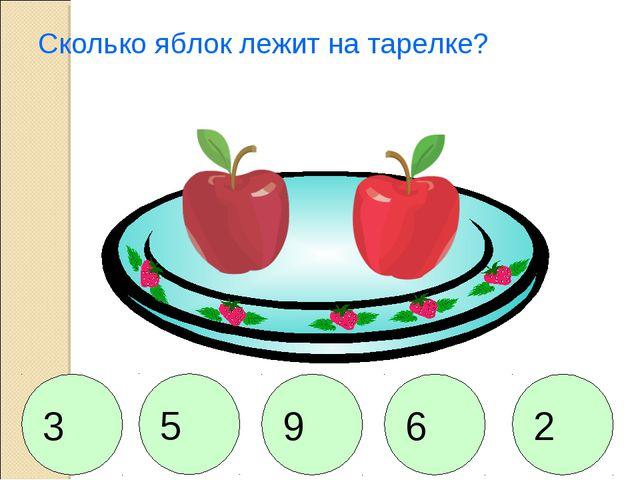Сколько яблок лежит на тарелке? 2 5 9 6 3