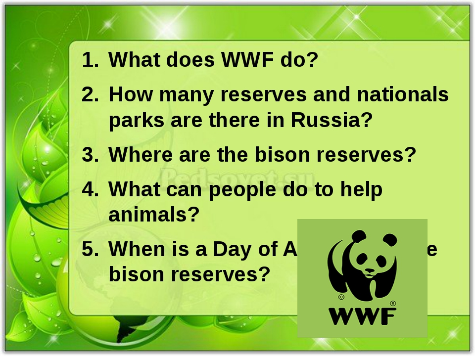 What does WWF do? How many reserves and nationals parks are there in Russia?...