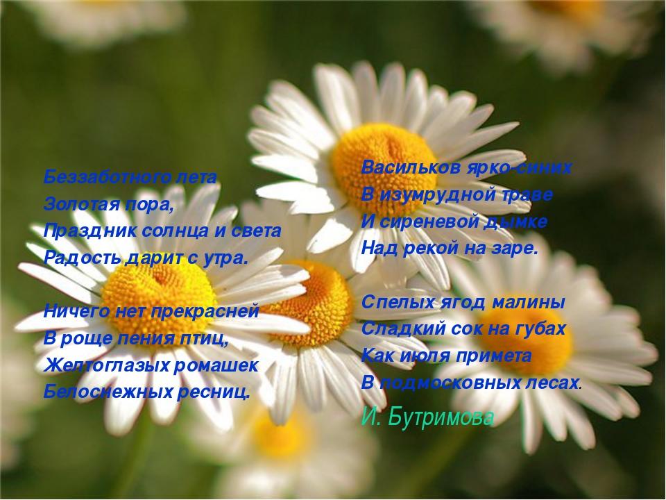 Беззаботного лета Золотая пора, Праздник солнца и света Радость дарит с утра....