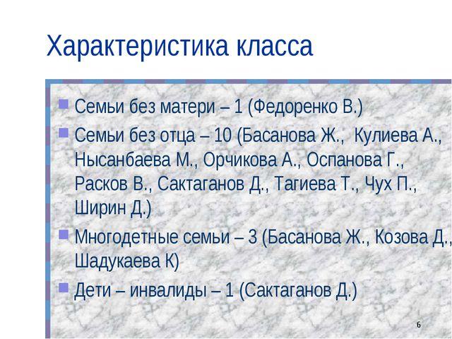 Характеристика класса Семьи без матери – 1 (Федоренко В.) Семьи без отца – 10...