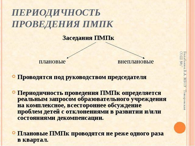 ПЕРИОДИЧНОСТЬ ПРОВЕДЕНИЯ ПМПК Заседания ПМПк плановые внеплановые Проводятся...