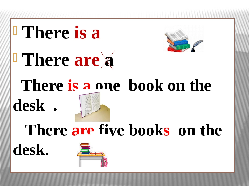 There is a There are a There is a one book on the desk . There are five books...
