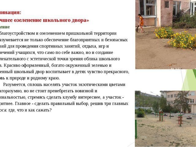 Номинация: «Лучшее озеленение школьного двора» Введение Под благоустройством...
