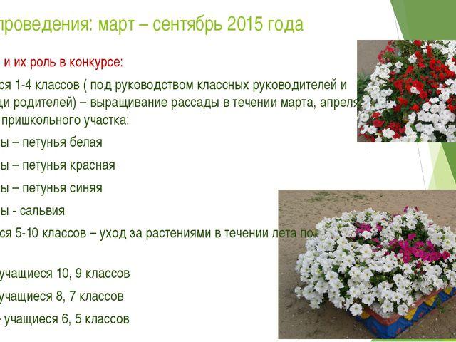 Сроки проведения: март – сентябрь 2015 года Участники и их роль в конкурсе: 1...