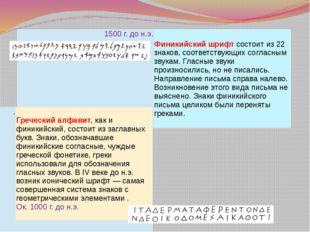 1500 г. до н.э. Финикийский шрифтсостоит из 22 знаков, соответствующих согла