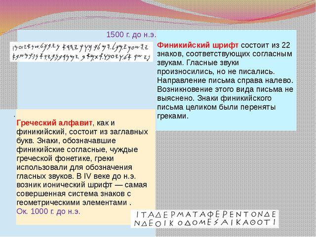 1500 г. до н.э. Финикийский шрифтсостоит из 22 знаков, соответствующих согла...