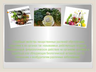 Лечебные свойства лекарственных растений обусловлены наличием в их органах т
