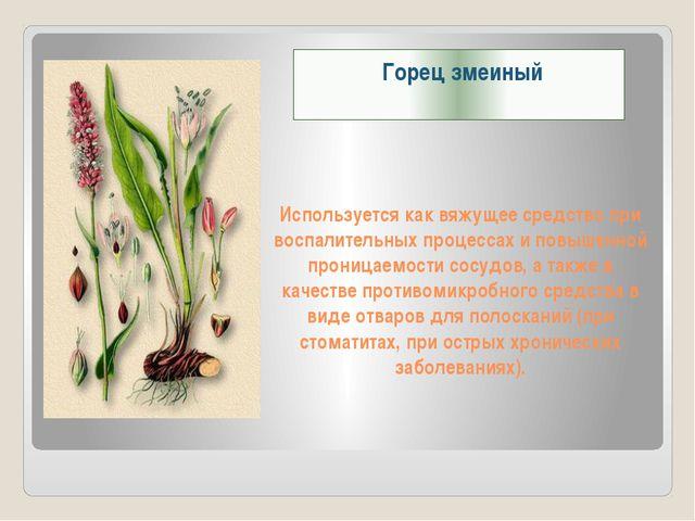 Используется как вяжущее средство при воспалительных процессах и повышенной п...
