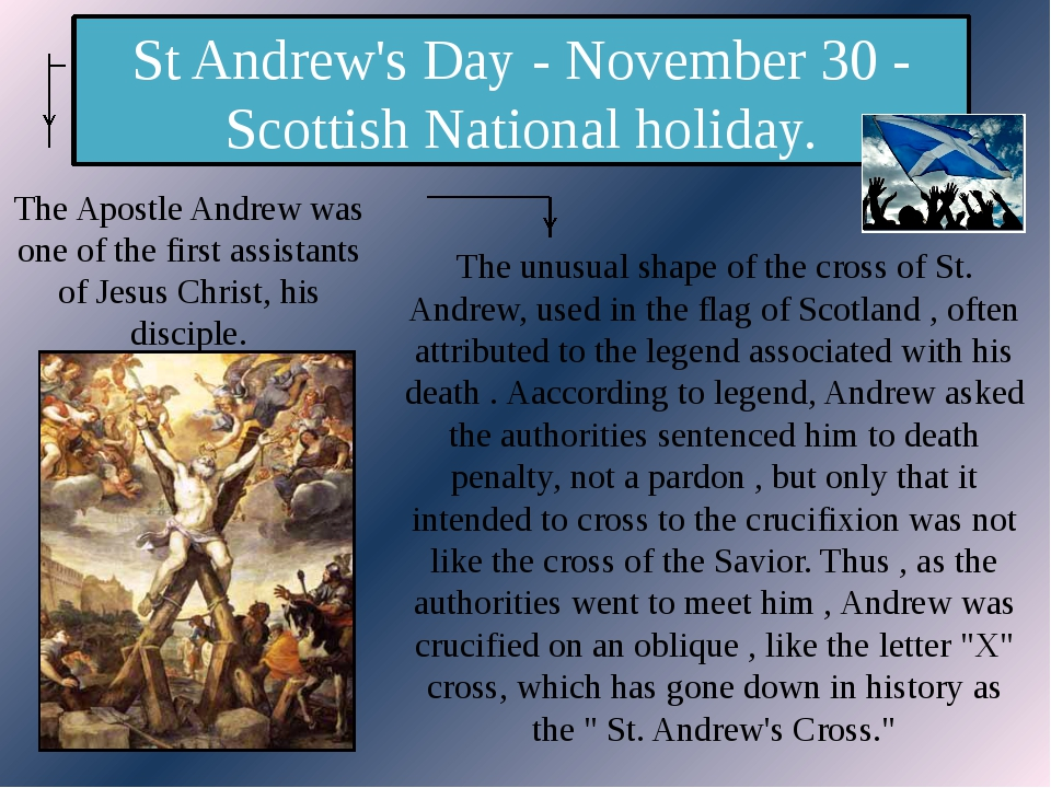 St Andrew's Day - November 30 - Scottish National holiday. The Apostle Andrew...