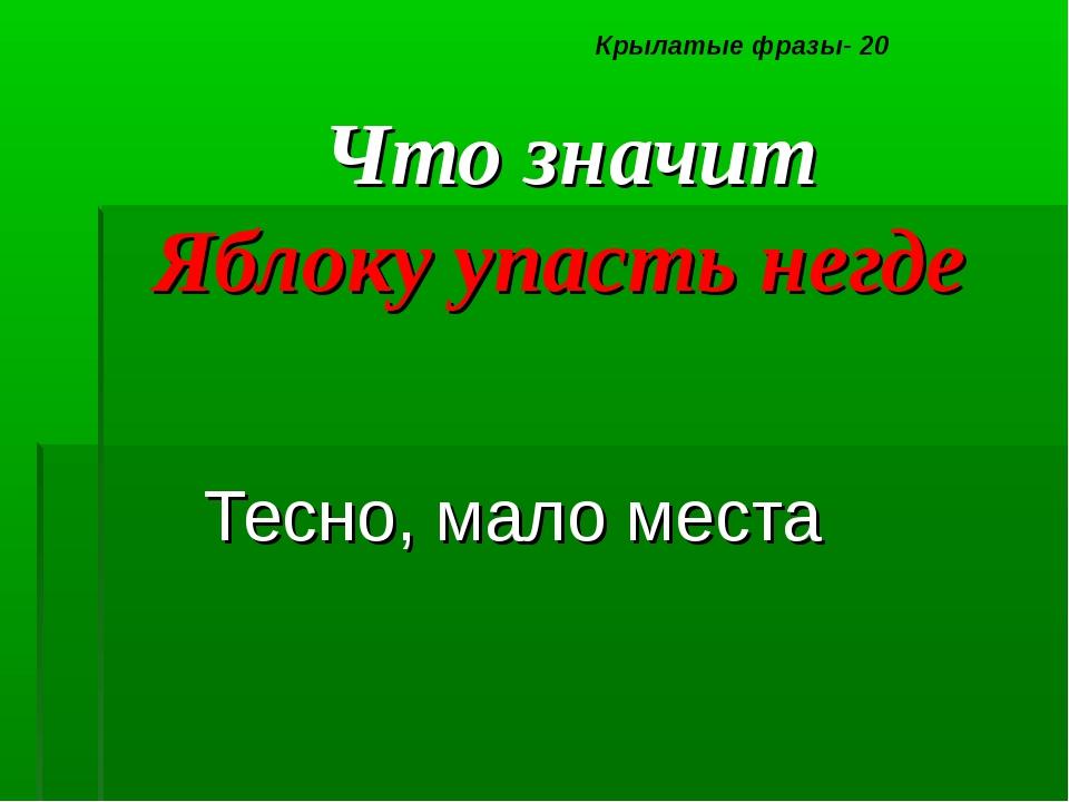 Что значит Яблоку упасть негде Тесно, мало места Крылатые фразы- 20