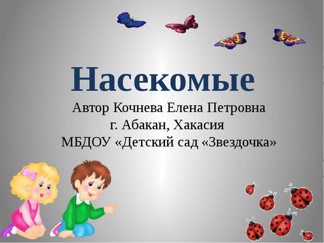 Насекомые Автор Кочнева Елена Петровна г. Абакан, Хакасия МБДОУ «Детский сад...