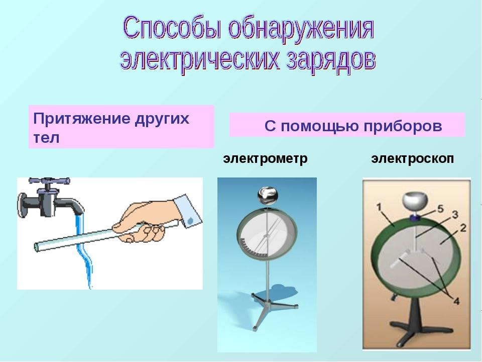 Притяжение других тел С помощью приборов электрометр электроскоп