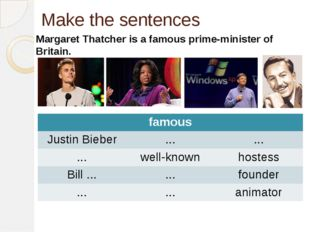 Make the sentences Margaret Thatcher is a famous prime-minister of Britain. f