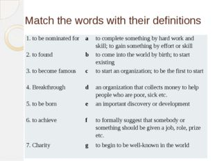 Match the words with their definitions 1. tobe nominated for a to complete so