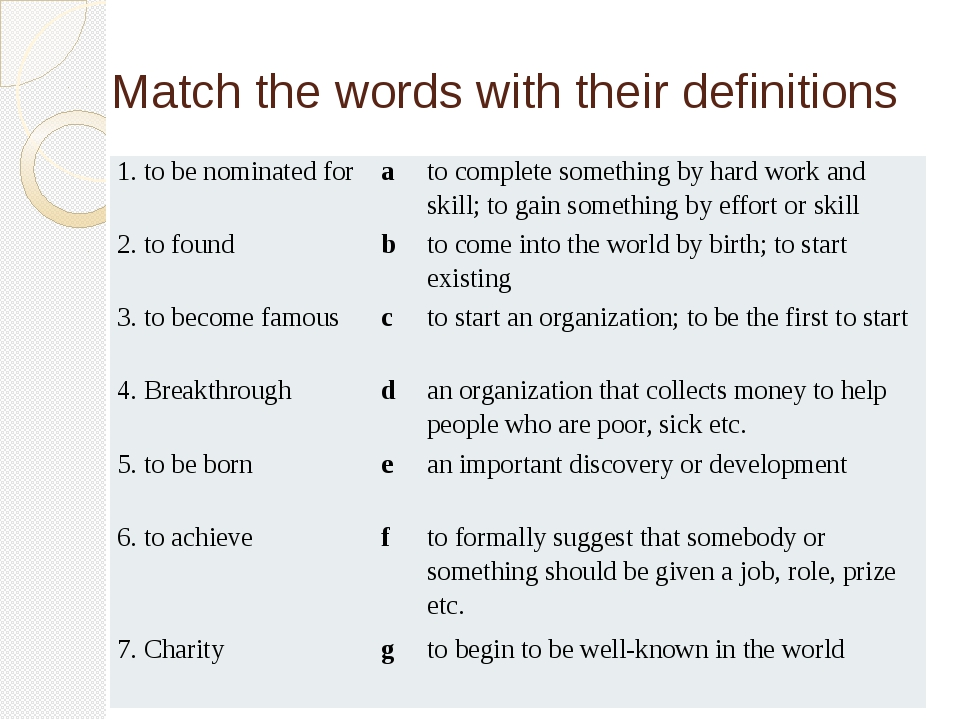 Match the words with their definitions 1. tobe nominated for a to complete so...
