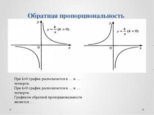 Обратная пропорциональность При k>0 график располагается в … и … четверти. П
