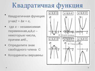 Квадратичная функция Квадратичная функция y=ax2 + bx + c, где x – независимая