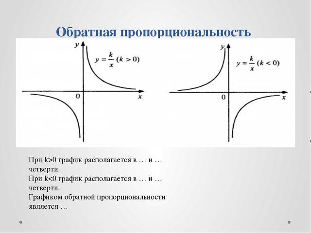 Обратная пропорциональность При k>0 график располагается в … и … четверти. П...