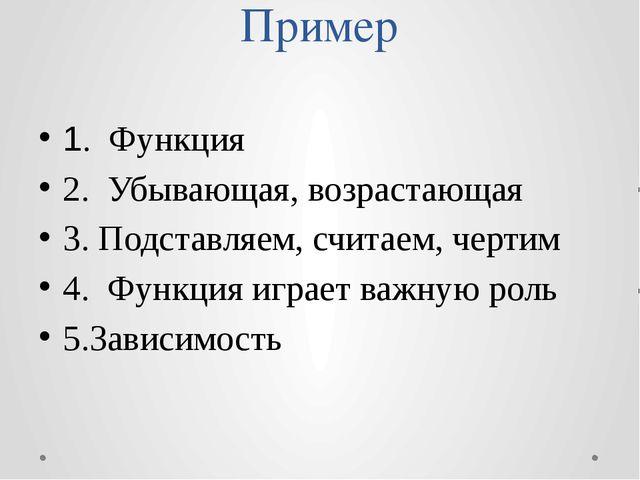 Пример 1. Функция 2. Убывающая, возрастающая 3.Подставляем, считаем, черти...