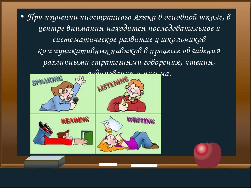 При изучении иностранного языка в основной школе, в центре внимания находится...