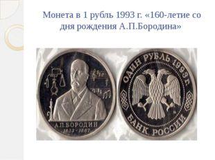 Монета в 1 рубль 1993 г. «160-летие со дня рождения А.П.Бородина»