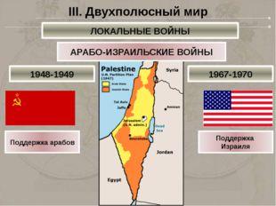 АРАБО-ИЗРАИЛЬСКИЕ ВОЙНЫ Поддержка арабов Поддержка Израиля III. Двухполюсный