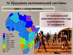 IV. Крушение колониальной системы 1960 г. – «ГОД АФРИКИ»  От колониальной за