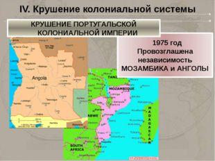 IV. Крушение колониальной системы 1975 год Провозглашена независимость МОЗАМ