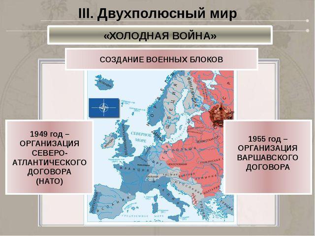 СОЗДАНИЕ ВОЕННЫХ БЛОКОВ 1949 год – ОРГАНИЗАЦИЯ СЕВЕРО- АТЛАНТИЧЕСКОГО ДОГОВОР...
