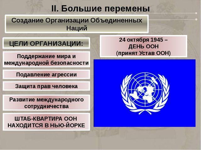 24 октября 1945 – ДЕНЬ ООН (принят Устав ООН) Поддержание мира и международно...