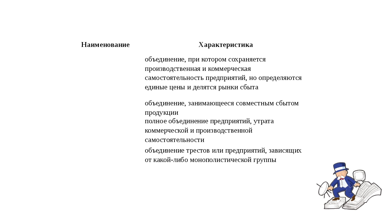 Наименование Характеристика  объединение, при котором сохраняется производст...