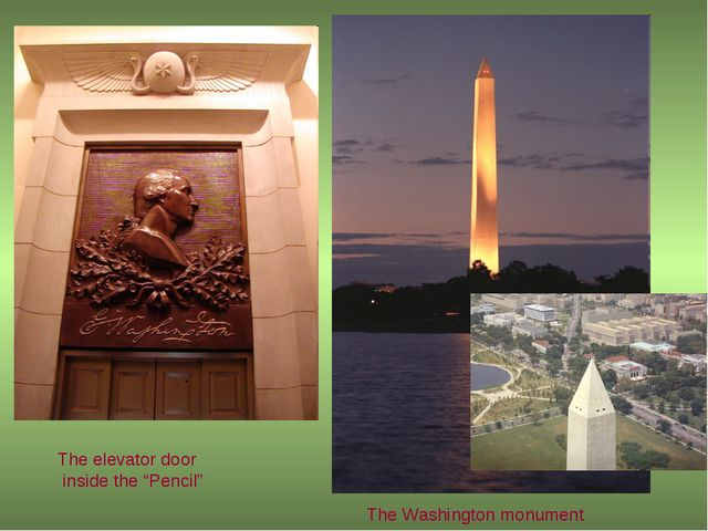 """The Washington monument The elevator door inside the """"Pencil"""""""
