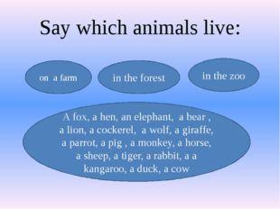 Say which animals live: on a farm A fox, a hen, an elephant, a bear , a lion,