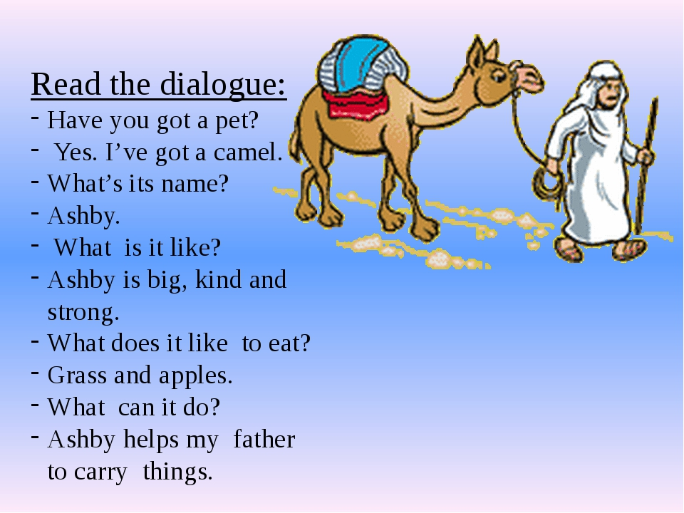 Read the dialogue: Have you got a pet? Yes. I've got a camel. What's its name...
