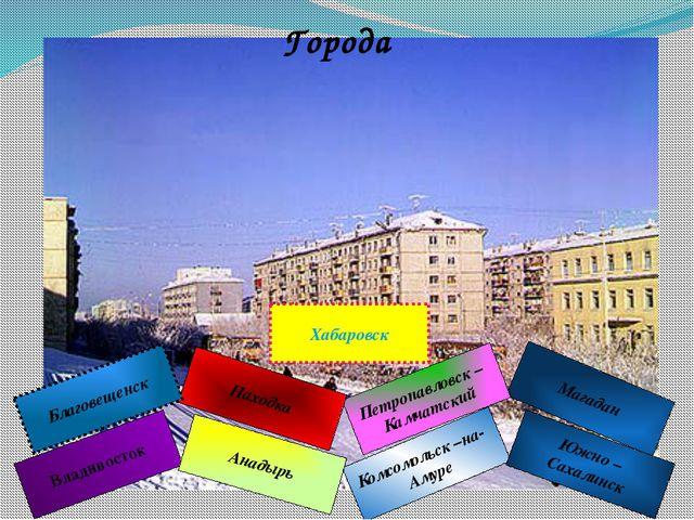 Города Владивосток Комсомольск –на- Амуре Магадан Южно – Сахалинск Петропавло...