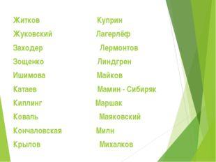 Житков Куприн Жуковский Лагерлёф Заходер Лермонтов Зощенко Линдгрен Ишимова М