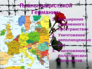 Планы нацистской Германии: Расширение «жизненного пространства» Уничтожение н
